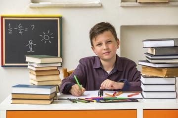 Junior student does homework.