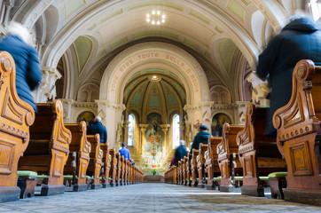 Sunday mass in catholic church wide angle