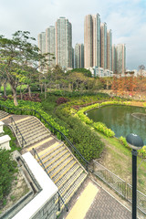 Residential buildings and Park in Hong Kong