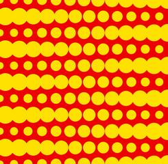Duotone Dotted Pattern with Circles in Rows in Red and Yellow