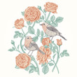 Card with roses and birds.