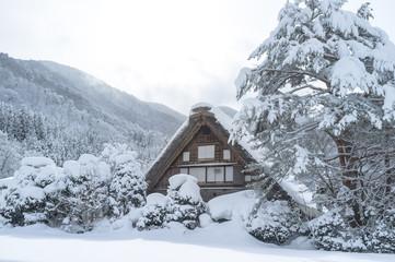 Snowy view, Takayama, Japan in winter season.