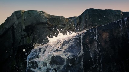 Waterfall Over Rock Face