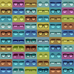 Glasses pattern on green and blue background.