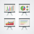 Set of presentation boards with pie charts, diagram and graphs.