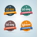 Fototapety Set of money back guarantee badges in flat style. 30, 60, 90 day