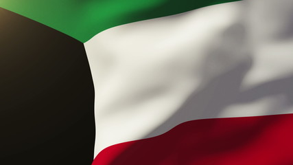 Kuwait flag waving in the wind. Looping sun rises style