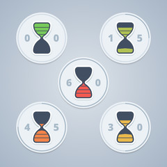 Hourglass timer icons with color gradation and numbers in flat s