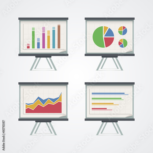 Set of presentation boards with pie charts, diagram and graphs. - 80710387