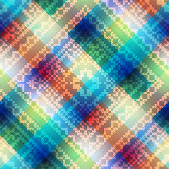 Plaid diagonal with embroidery ornament.