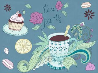 Vintage pattern of tea party