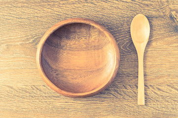 Wooden cup and spoon