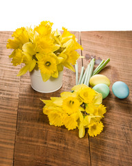 Daffodils and dyed Easter eggs