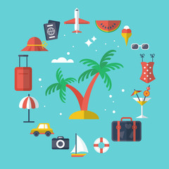 Summer vacation flat modern icons