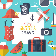 Summer holiday vacation poster template design with flat modern