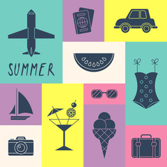 Summer holiday icons for logo design