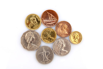 Different coins collection on white background