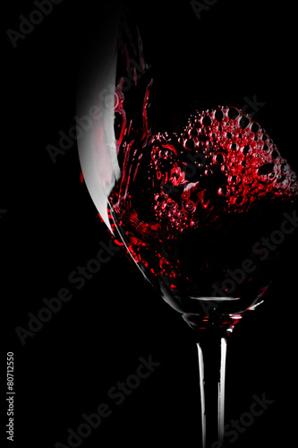 Staande foto Wijn Glass of red wine close-up