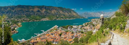 Leinwanddruck Bild view of kotor bay on sunny day, Kotor, Montenegro