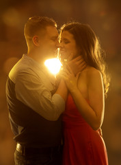 Young Couple Kissing in Love, Woman and Man Dating Portrait