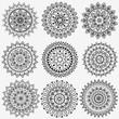 Black and white collection round circle lace pattern mandala. - 80715358