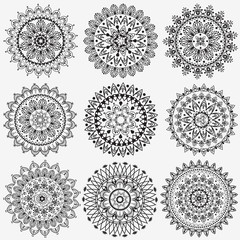 Black and white collection round circle lace pattern mandala.