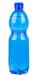 A blue bottle of mineral water on a white background
