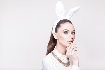 Beautiful model with rabbit ears