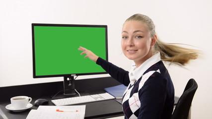 Woman gesturing thumb up sign