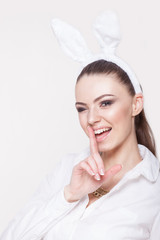 Winking model in bunny costume