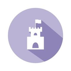 Icono castillo morado botón sombra