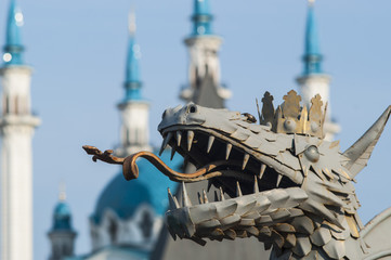 Dragon, a symbol of the city of Kazan Kremlin on backgroun