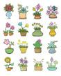 Set Of Flowers Pots