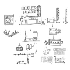 Boiler room equipment, engineering systems. Sketch. Vector file.