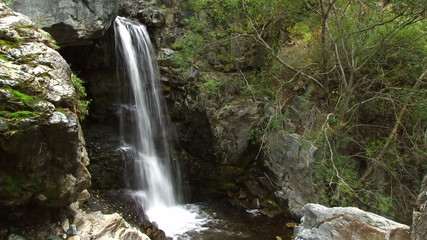 Waterfall on the small mountain river.  Natural sound