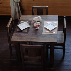 wooden served table in restaurant