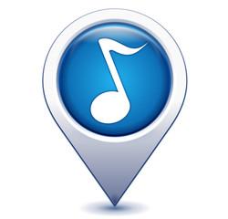 note de musique sur marqueur géolocalisation bleu