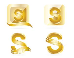 Letter S logo gold set
