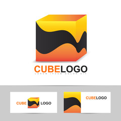 Abstract orange cube logo vector
