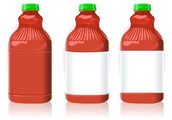 Three Red Plastic Bottles with Generic Labels