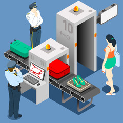 Isometric Security Checkpoint Machine
