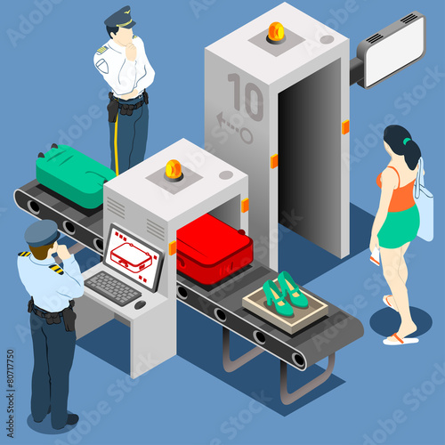 Airport Security Vector Isometric Scanner Police Luggage - 80717750