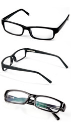 set of three metal frame spectacles on white background