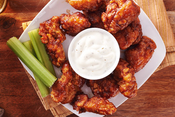 bbq chicken wings with beer ranch and celery