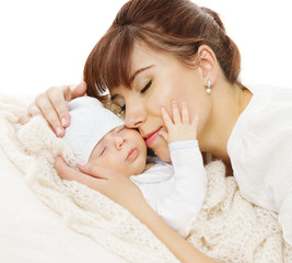 Mother Newborn Baby Family Portrait, Mom with New Born Kid