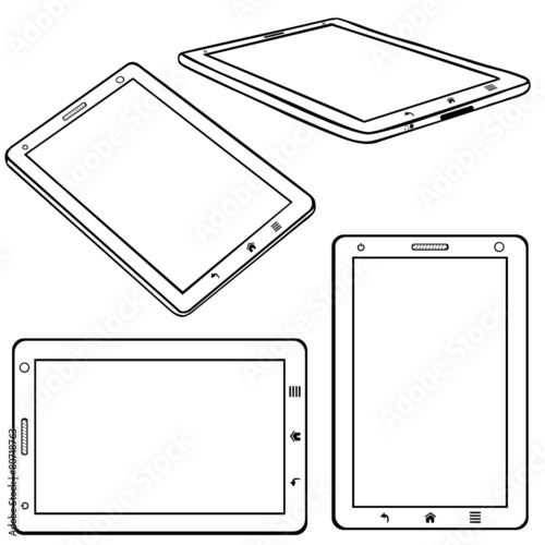 Vector Set of Lineart Tablets PC - 80718763