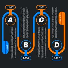 Snake shape infographics, dark background.