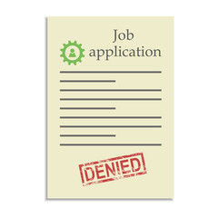 Job application with denied stamp