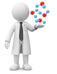 Professor mit Moleküle