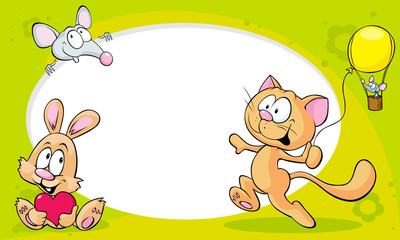 funny frame with cute animals - cat, bunny and mouse